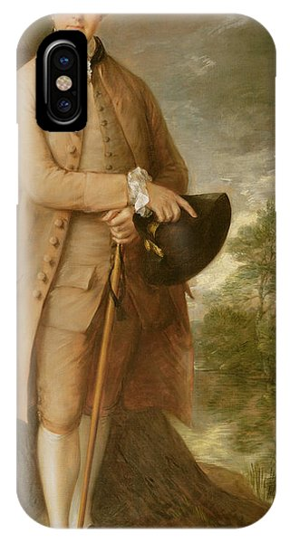 Costumed Figures In Landscape iPhone Case - William Johnstone Pulteney by Thomas Gainsborough