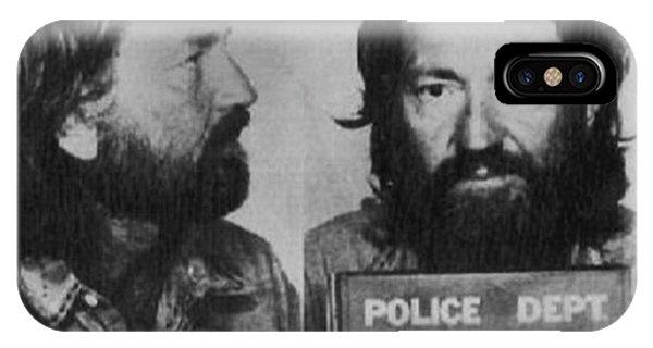 Willie Nelson Mug Shot Horizontal Black And White IPhone Case