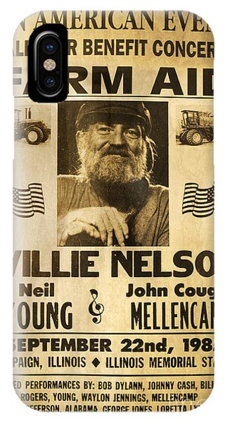 Johnny Cash iPhone Case - Willie Nelson Neil Young 1985 Farm Aid Poster by John Stephens