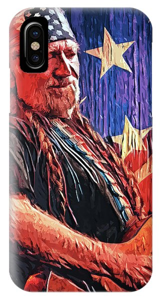 Johnny Cash iPhone Case - Willie Nelson by Taylan Apukovska
