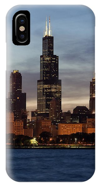 Chicago Skyline Art iPhone Case - Willis Tower At Dusk Aka Sears Tower by Adam Romanowicz