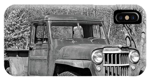 Steve Harrington iPhone Case - Willys Jeep Pickup Truck Monochrome by Steve Harrington