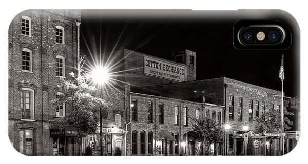Wilmington Cotton Exchange At Night In Black And White IPhone Case