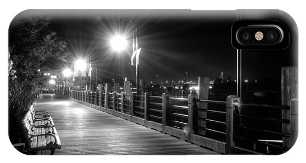 Wilmington Riverwalk At Night In Black And White IPhone Case