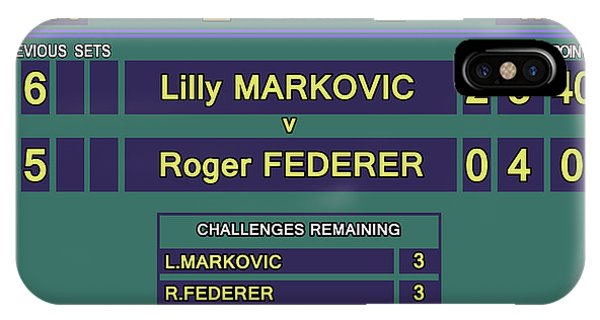 Venus Williams iPhone Case - Wimbledon Scoreboard - Lilly Markovic - 4-13 by Carlos Vieira