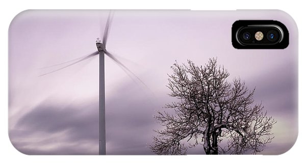 Wind Power Station, Ore Mountains, Czech Republic IPhone Case