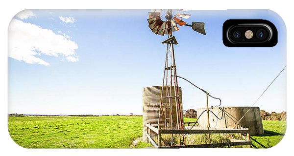 Rural iPhone Case - Wind Powered Farming Station by Jorgo Photography - Wall Art Gallery