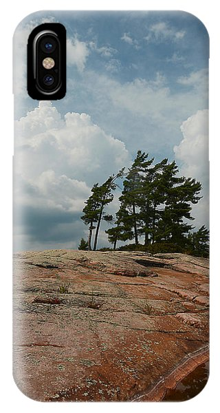 Wind Swept Trees On Rocks IPhone Case