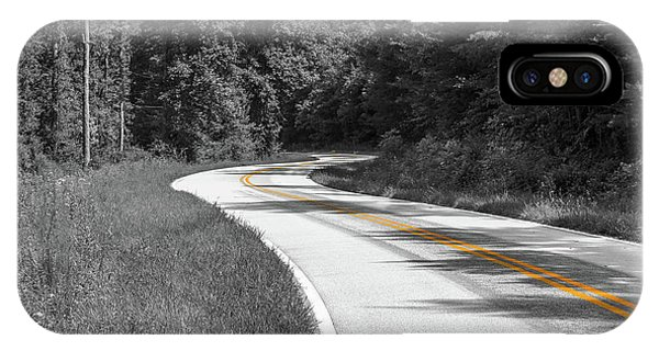 IPhone Case featuring the photograph Winding Country Road In Selective Color by Doug Camara