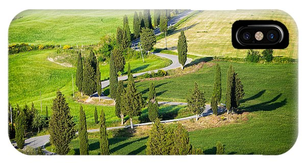 IPhone Case featuring the photograph Winding Cypress Lined Road Of Monticchiello by IPics Photography