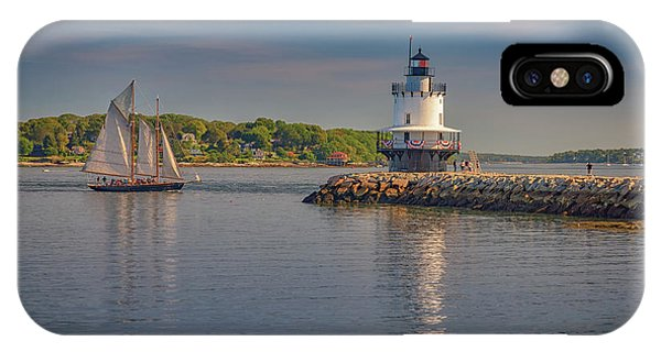 Navigation iPhone Case - Windjammer At Spring Point Ledge Lighthouse by Rick Berk