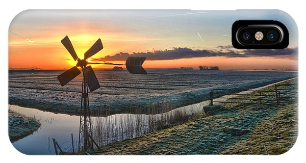 Windmill At Sunrise IPhone Case