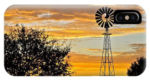 Fresno Silhouette iPhone Case - Windmill At Sunset by Kathleen Haeberle