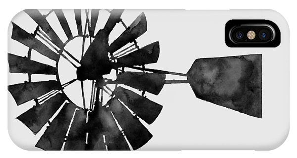 Windmill iPhone Case - Windmill In Black And White by Hailey E Herrera