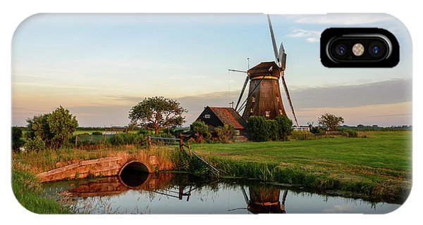 IPhone Case featuring the photograph Windmill In The Countryside In Holland by IPics Photography