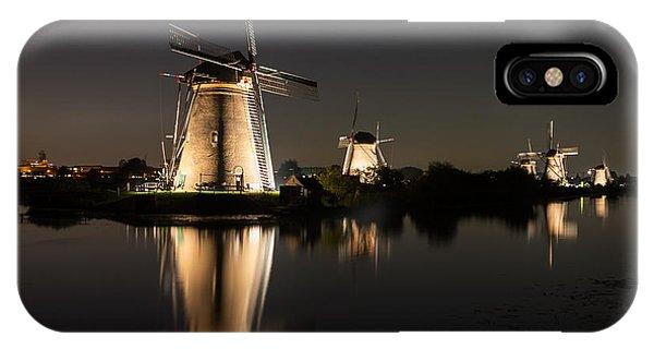 Windmills Illuminated At Night IPhone Case