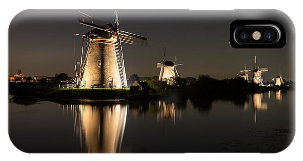 IPhone Case featuring the photograph Windmills Illuminated At Night by IPics Photography