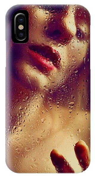 Window -  Sensual Woman Portrait Behind A Rainy Window IPhone Case