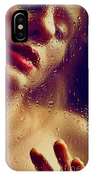 Window -  Sensual Woman Portrait Behind A Rainy Window IPhone Case