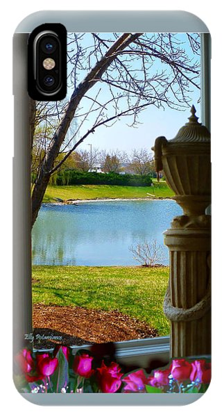 IPhone Case featuring the pyrography Window View Pond by Elly Potamianos