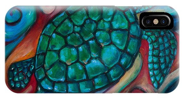 Windowpane Sea Turtle Phone Case by Linda Olsen