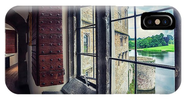 IPhone Case featuring the photograph windows of Leeds Castle by Ariadna De Raadt