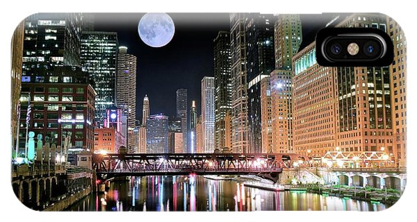 Chicago Skyline Art iPhone Case - Windy City River Moon by Frozen in Time Fine Art Photography