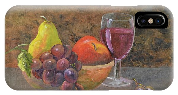 IPhone Case featuring the painting Wine And Fruit by Mary Scott