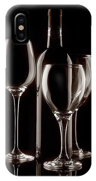 Wine Bottle And Wineglasses Silhouette II IPhone Case
