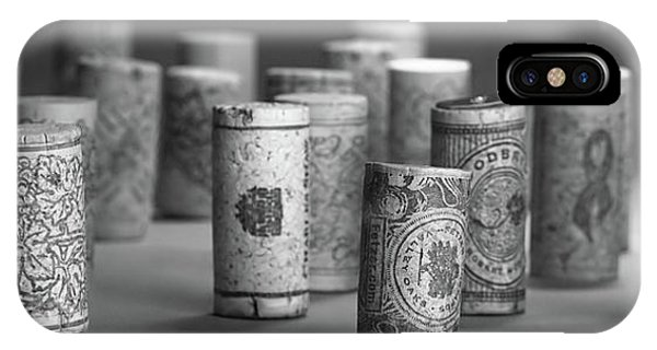 Closeup iPhone Case - Wine Cork Panorama In Black And White by Tom Mc Nemar
