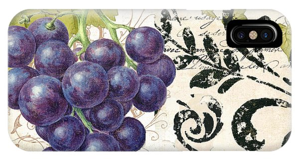 Wine Grapes And Damask IPhone Case