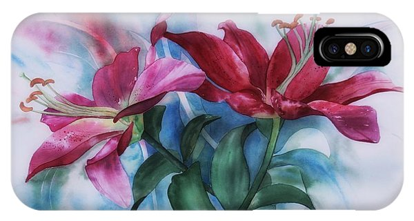 Wine Lillies In Pastel Watercolour IPhone Case