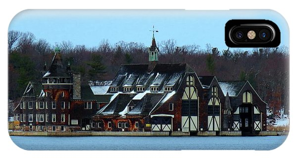 Snow On Boldt Castle Yacht House IPhone Case