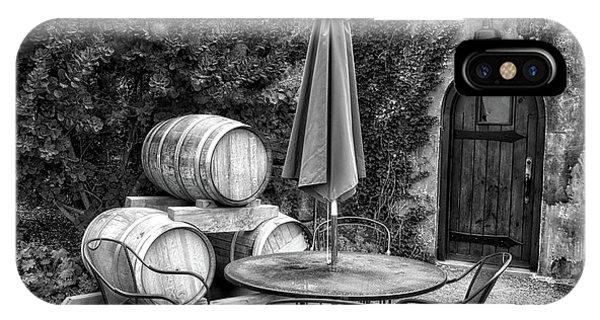 Winery Anyela's Vineyard Skaneateles New York Seating For Four Bw IPhone Case