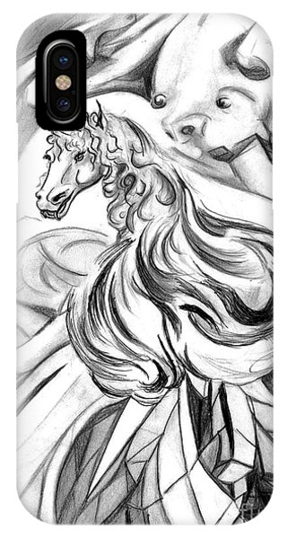 Visual Illusion iPhone Case - Winged Crystalline Demon Horse by Janice Moore