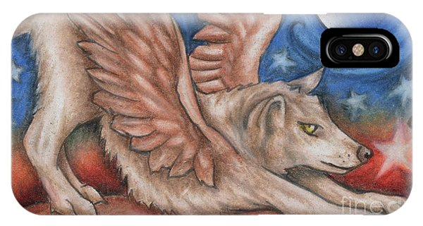 Winged Wolf In Downward Dog Yoga Pose IPhone Case