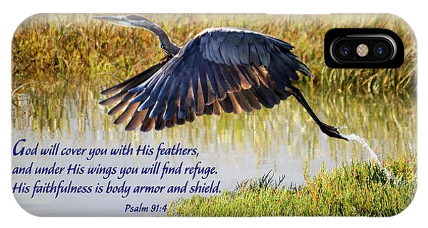 Wings Of Refuge With Scripture IPhone Case