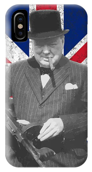 Prime Minister iPhone Case - Winston Churchill And Flag by War Is Hell Store