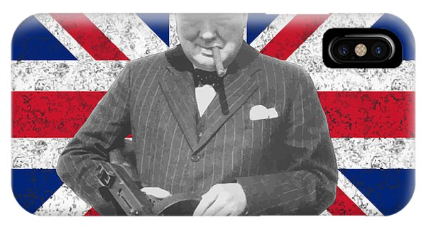 England iPhone Case - Winston Churchill And His Flag by War Is Hell Store