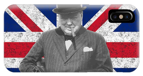 Prime Minister iPhone Case - Winston Churchill And His Flag by War Is Hell Store