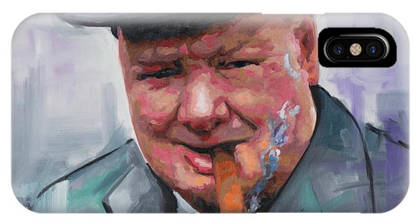 Prime Minister iPhone Case - Winston Churchill Cigar by Richard Day