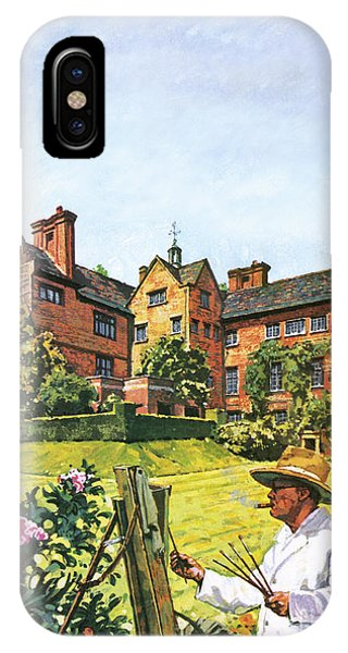At Work iPhone Case - Winston Churchill Painting At Chartwell by Harry Green