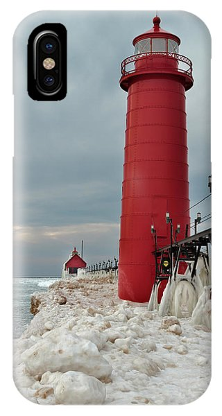 Winter At Grand Haven Lighthouse IPhone Case
