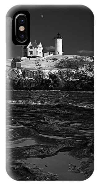 Winter At Nubble Lighthouse Bw IPhone Case