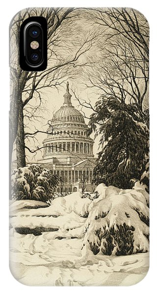 Capitol iPhone Case - Winter At The Capitol by Ronau William Woiceske