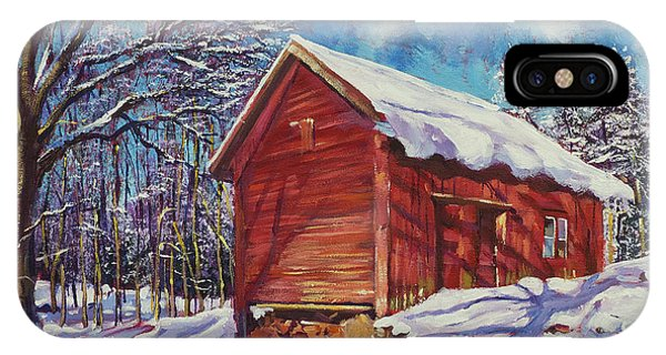 Barn Snow iPhone Case - Winter At The Old Barn by David Lloyd Glover