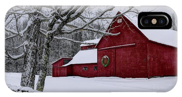 New England Barn iPhone Case - Winter Barn by Chris Whiton