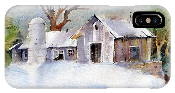 New England Barn iPhone Case - Winter Barn by P Anthony Visco