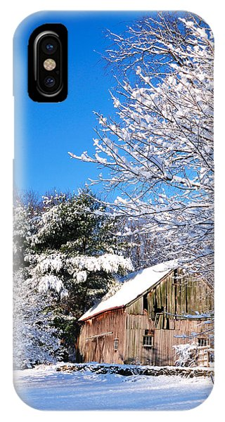 Winter Barn Scene-warren Ct IPhone Case