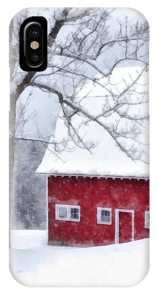 Barn Snow iPhone Case - Winter Blanket Of Snow On The Farm by Edward Fielding